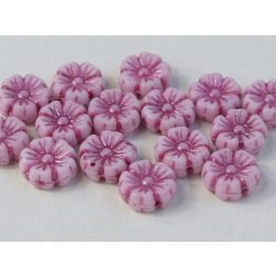 Cseh üveggyöngy. Virág. Fehér, lila. 10db/csomag. 9mm.