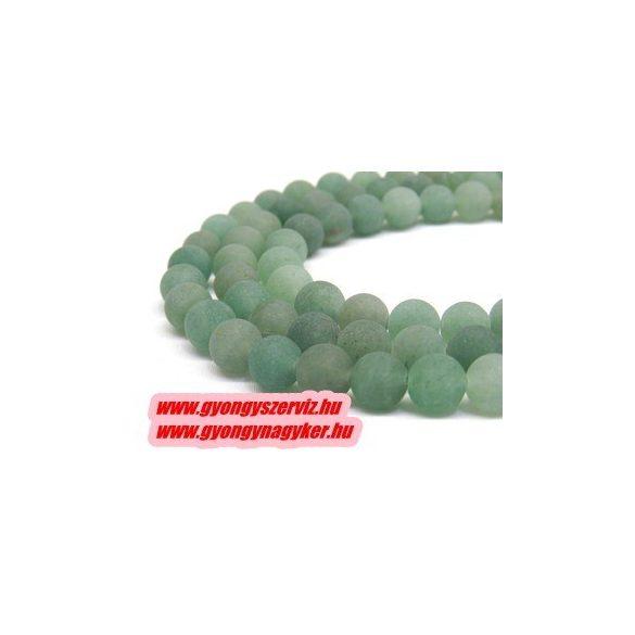 Matt zöld aventurin ásványgyöngy 10mm.   1 szál (Kb. 40cm).