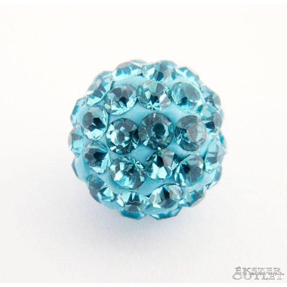 Shamballa gyöngy. 10 mm. Türkizkék.  10db.