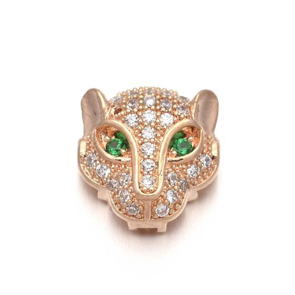 Cirkon leopárd fej gyöngy. Rózsaarany szín, zöld szem.