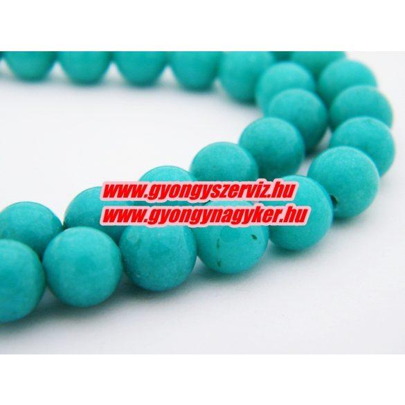 Jade ásványgyöngy. 8mm. Türkizzöld. AAA.1 szál. (kb. 40cm)