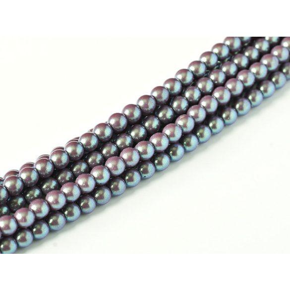 Cseh shell pearl tekla üveggyöngy. 6mm. Szilva. 100db/szál.