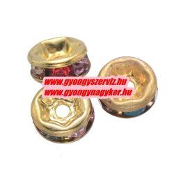 Rondell. Strasszos köztes gyöngy, rondella. 6mm. Arany, szívárvány. AAA.  20db/csomag.