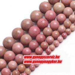 Pink rodonit ásványgyöngy. 4mm. 1 szál, kb. 40cm.