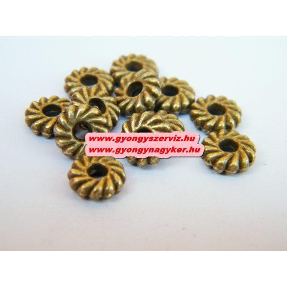 Korong. 8x2.5mm. Antik bronz színű. Fémgyöngy, köztes gyöngy. 100db.