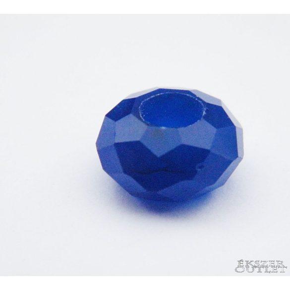 Pandora üveg gyöngy. 14x8mm. Sötétkék.  10db.