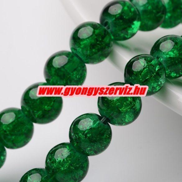Roppantott üveggyöngy. 6mm, 8mm. Smaragd zöld. 100db/csomag.