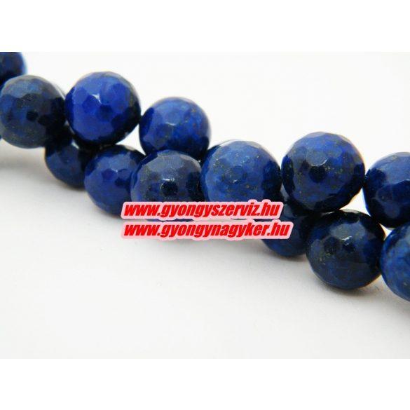 Csiszolt lapis lazuli ásványgyöngy. 10mm. 1 szál, kb. 40cm.