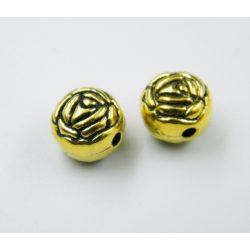 Rózsa. Fém köztes gyöngy. 9x9.5x8mm. Antik arany szín. 10db/csomag.