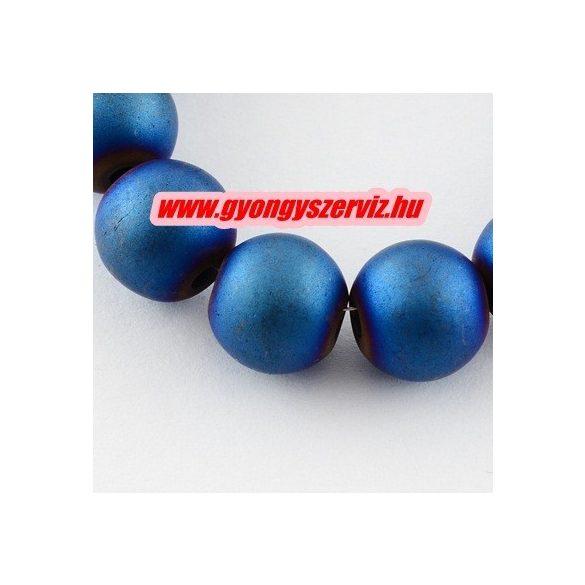 Matt hematit ásványgyöngy. 8mm. Kék szín. 1 szál. (kb. 40cm)