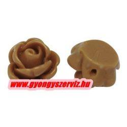Fűzhető gyanta virág kaboson. 9x7mm. Bézs.  10db.