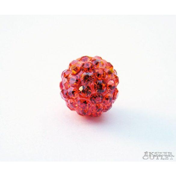 Shamballa gyöngy. 10mm. Narancs. 10db.