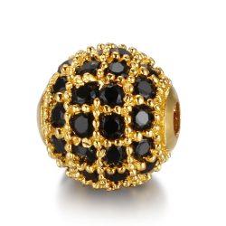 Cirkon köztes gyöngy. 10mm. Arany szín, fekete kristály.