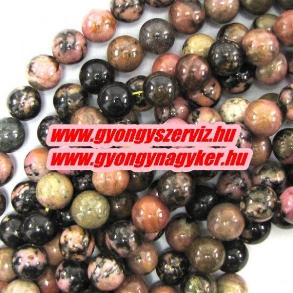 Ásványgyöngy, féldrágakő, ékszer gyöngy. Rodonit. 12mm. 1 szál, kb. 40cm.