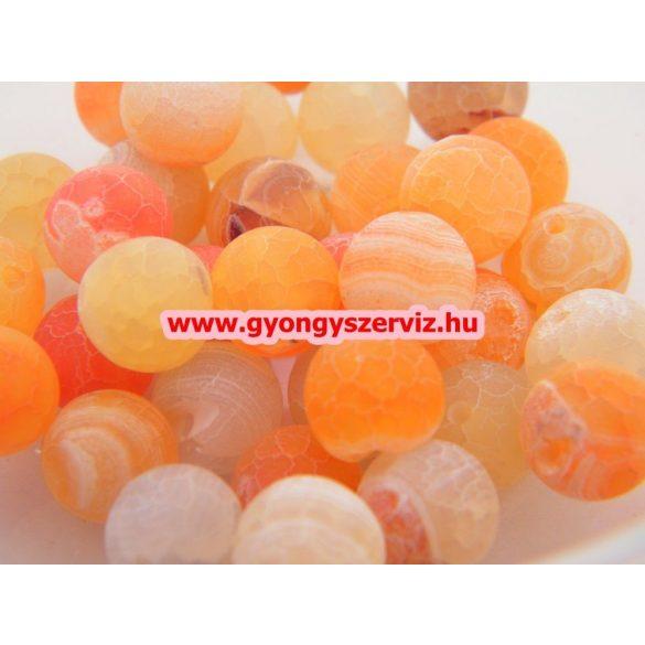 Ásványgyöngy, féldrágakő gyöngy. Repesztett. Narancs achát. 10mm.  1 szál.