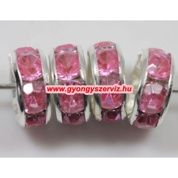 Strasszos kösztes gyöngy, rondell. 8x3.5mm. Pink.  20db/csomag.