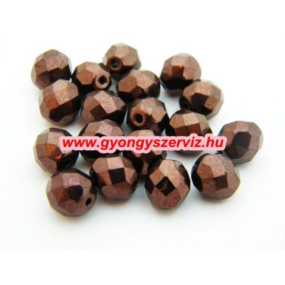 Cseh csiszolt gyöngy. 8mm. Csokoládé.  20db/csomag.