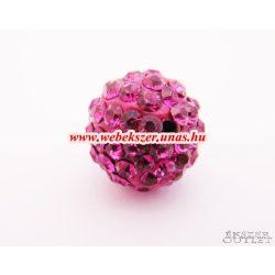Shamballa gyöngy. Kristály gyöngy. 12mm.  Pink.  10db.