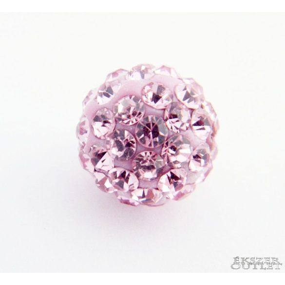 Shamballa gyöngy. 10 mm. Rózsaszín. 10db.