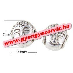 Buddha gyöngy, fém köztes gyöngy. Antik ezüst szín. 7.5x7mm. 10db.