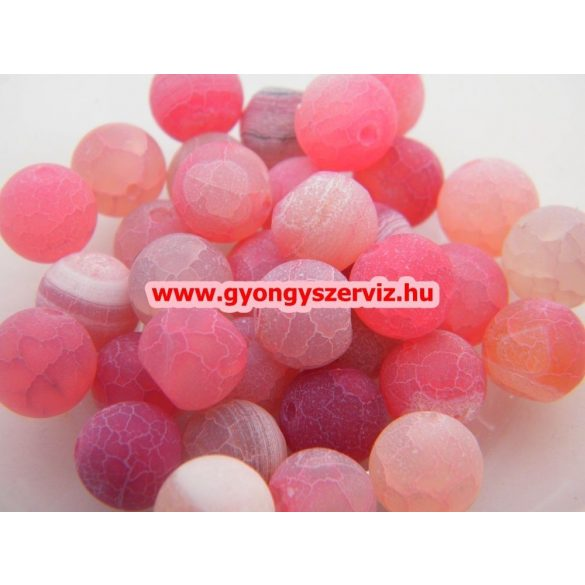 Ásványgyöngy, féldrágakő gyöngy. Repesztett. Pink achát.  10mm.  1 szál.