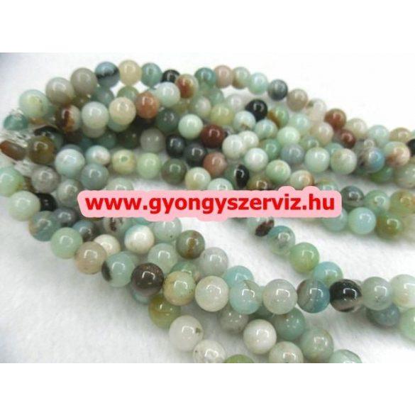 Ásványgyöngy, féldrágakő gyöngy. Amazonit. Színes.  6mm.  1 szál (40cm).