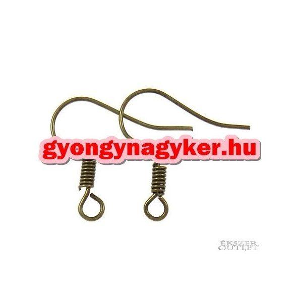 Fülbevaló alap, akasztos,  horog , antik bronz színű. 17x17x2mm. 100db/csomag.
