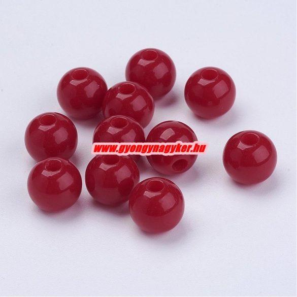 Akril gyöngy. 10mm. Sötét piros. 100db/csomag.