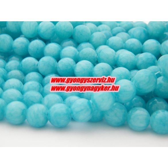 Jade ásványgyöngy.  10mm. Kék. 1 szál, kb. 40cm.