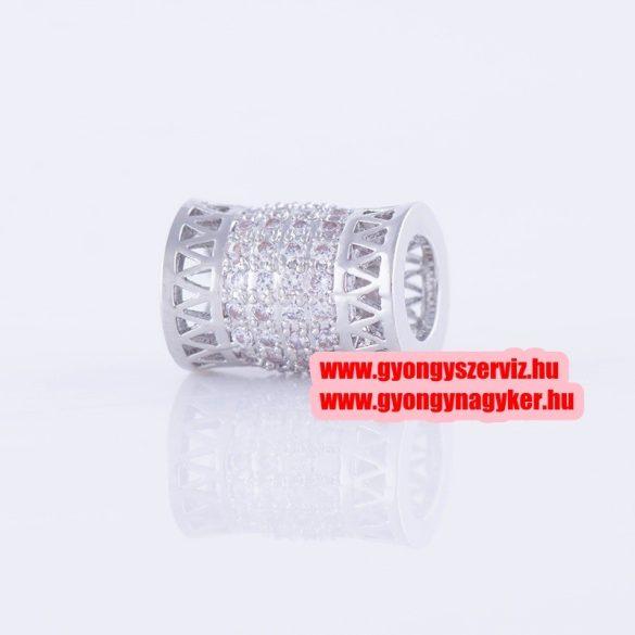 Cirkon kristályos köztes gyöngy. Cső. 8x11mm. Ezüst szín.