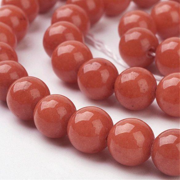 Jade ásványgyöngy. 8mm. Sötét narancs. AAA. 1 szál. (kb. 40cm)