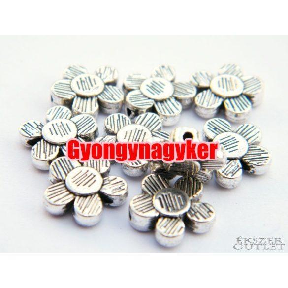 Virág. 10x3mm. Antik ezüst szín. Fémgyöngy, köztes gyöngy. 10db/csomag.