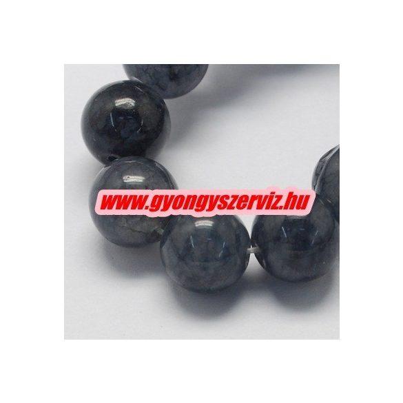 Jade ásványgyöngy. Szürke. 8mm.  1 szál. (kb. 40cm)