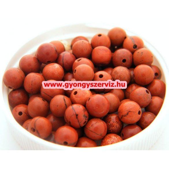 Vörös jáspis ásványgyöngy, féldrágakő, ékszer gyöngy. 12mm. 1 szál, kb. 40cm.