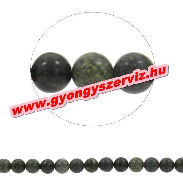 Szerpentin ásványgyöngy. 10mm. 1 szál, kb. 40cm.