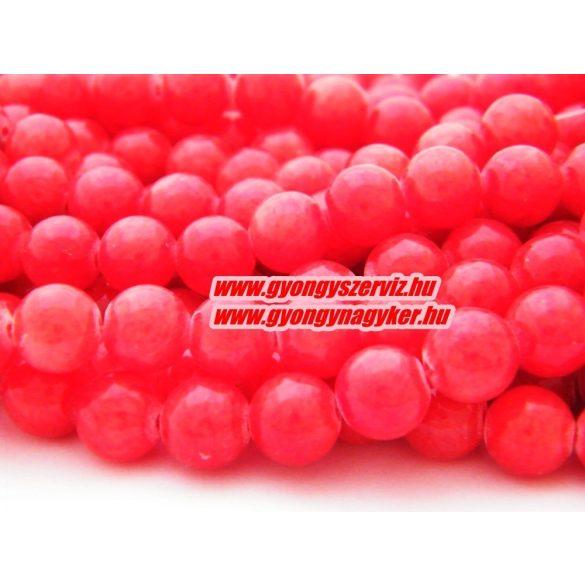 Jade ásványgyöngy. 10mm. Piros. 1 szál, kb. 40cm.