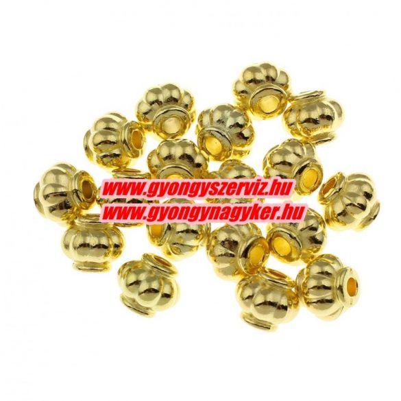 Hordó. 9.5x8.5mm. Arany szín. Köztes gyöngy, fém gyöngy. 10db.