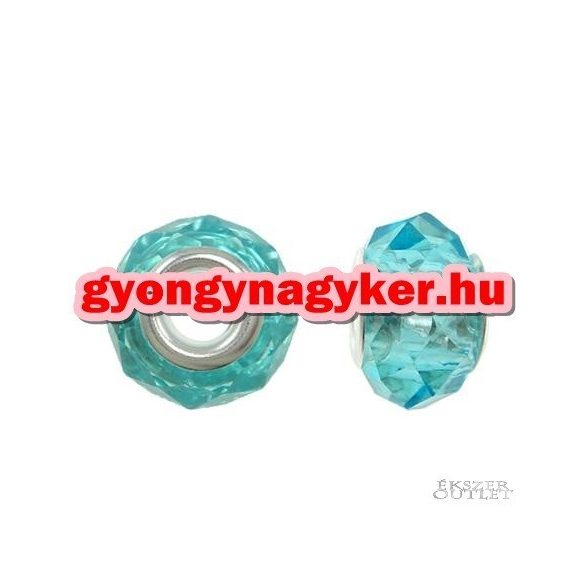 Pandora stílusú üveggyöngy. Lámpagyöngy. Kék kristaly.  10 db/csomag.