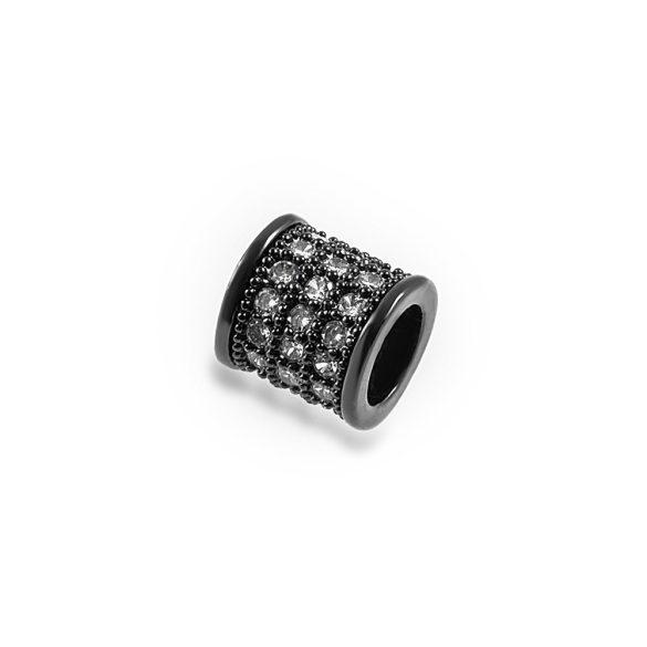 Cirkon cső köztes gyöngy. 8mm. Fekete szín, fehér kristály.