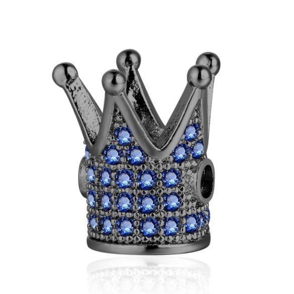 Cirkon korona. Fekete, kék kristályokkal.