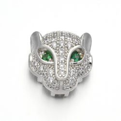 Cirkon leopárd fej gyöngy. Platina szín, zöld szem.