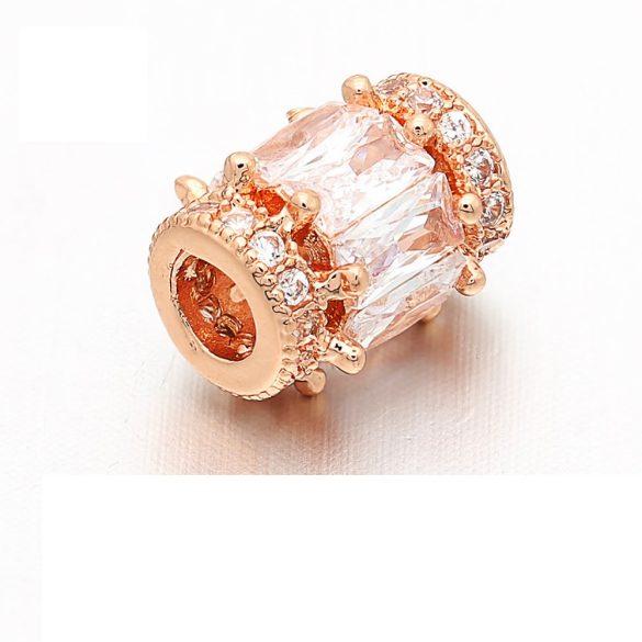 Cirkon kristályos köztes gyöngy. 11.5x9.8mm. Rózsaarany szín.