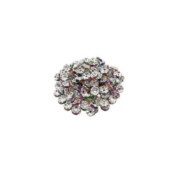 Strasszos fém köztes gyöngy. Rondell. 8x3.5mm. Szívárvány.   20db/csomag.
