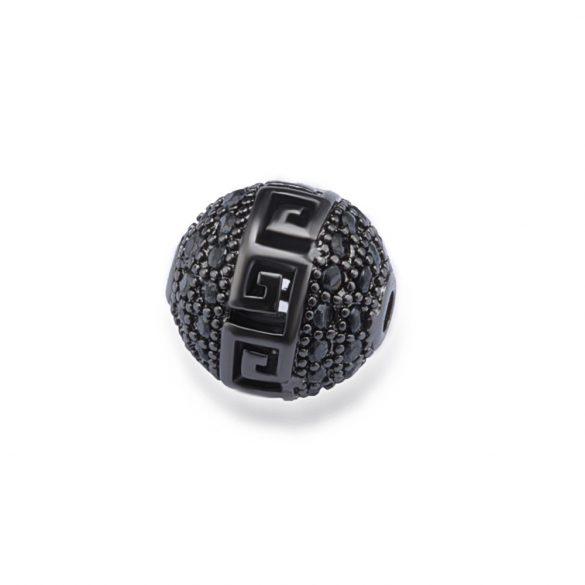 Cirkon köztes gyöngy. 10mm. Görög. Fekete szín, fekete kristály.