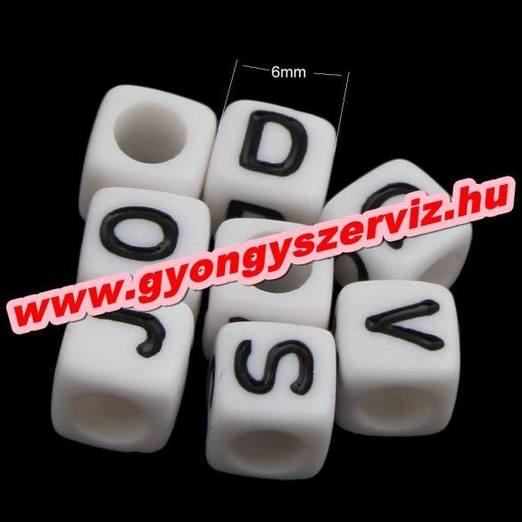 Műanyag betű gyöngy. 7x7mm.  100db/csomag. Mix.