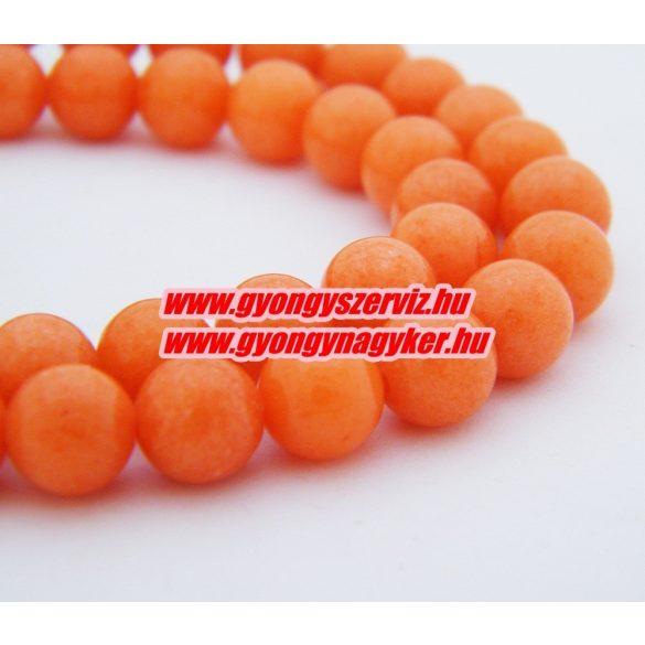 Jade ásványgyöngy. 8mm. Narancs. AAA. 1 szál. (kb. 40cm)