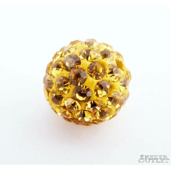 Shamballa gyöngy. 10 mm. Világos arany.  10db.