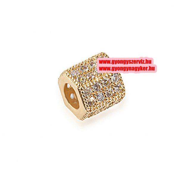 Cirkon kristályos, hexagon köztes gyöngy. 7.1x7.3mm. Arany szín.