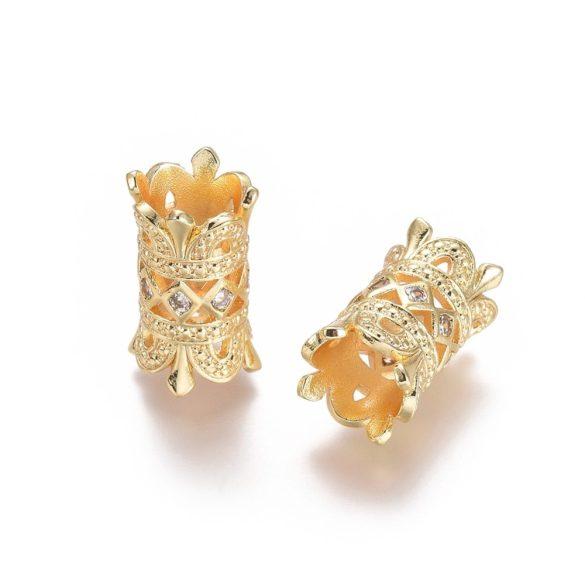 Cirkon cső, korona, köztes gyöngy. Arany szín.