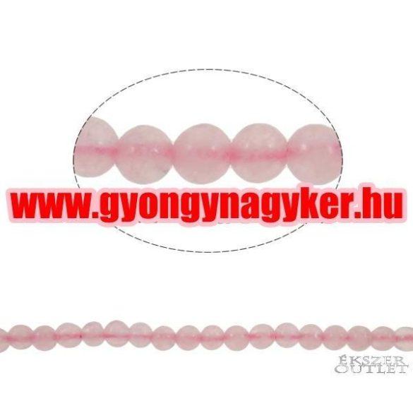 Rózsakvarc gyöngy. 4mm.   1 szál, kb. 40cm.